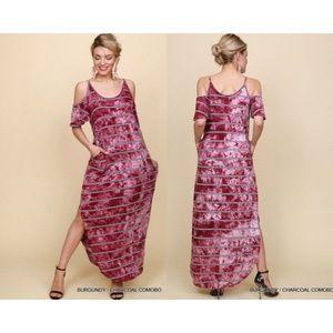 Burgundy Tie Dye Maxi Dress